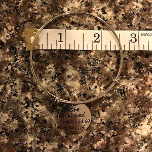Silver inspirational bangle bracelet